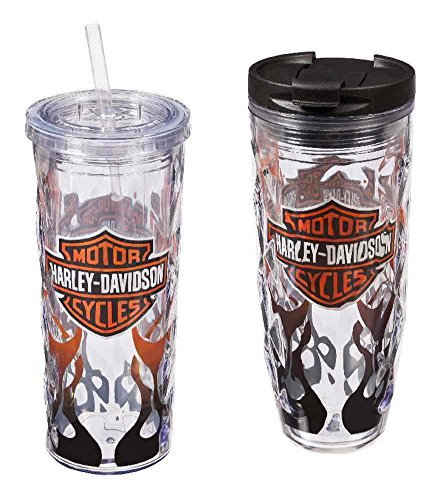 Harley-Davidson Flaming B&S Hot & Cold Tumbler Gift Set, 2-Pack, P4214900FLA -