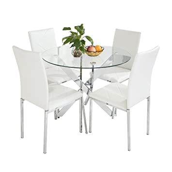 40e84a44e17 Panana New Chrome Round Circular Glass Round Dining Table with 4 Faux  Leather Dining Chairs Set (White)  Amazon.co.uk  Kitchen   Home