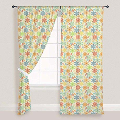 ArtzFolio Ornate Leaves & Flowers Door & Window Curtain Canvas 4feet x 6feet; Set of 3 PCS