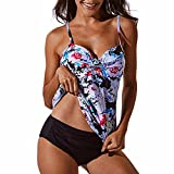 CFR Sexy Women Tankini Swimsuits with Brief Floral Push up Bathing Suits