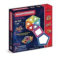 Magformers Basic Set (62 piezas) Bloques de construcción magnéticos, azulejos magnéticos educativos, juguete STEM de construcción magnética