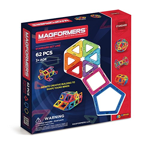 Magformers  Basic Set (62-pieces)  Magnetic Building Blocks, Educational Magnetic Tiles, Magnetic Building STEM Toy -