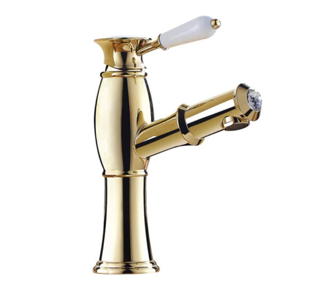 Edelstahl Einhand Mischer Einhebel Gold Pull Wasserhahn, Heißes Und Kaltes Kupferausdehnungsbecken, Wasserhahnbecken, Becken Waschbarer Hahn