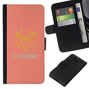 Supergiant (Arrow Text Yellow Peach Extraordinary Be) Dibujo PU billetera de cuero Funda Case Caso de la piel de la bolsa protectora Para Samsung ALPHA / SM-G850 / S801