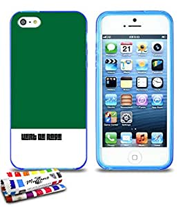 Carcasa Flexible Ultra-Slim APPLE IPHONE 5S / IPHONE SE de exclusivo motivo [Furia verde] [Azul] de MUZZANO  + ESTILETE y PAÑO MUZZANO REGALADOS - La Protección Antigolpes ULTIMA, ELEGANTE Y DURADERA para su APPLE IPHONE 5S / IPHONE SE