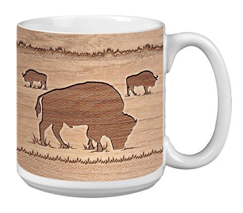 Tree-Free Greetings Extra Large 20-Ounce Ceramic Coffee Mug, Buffalo Woodcut Themed Wildlife Art (XM63113)