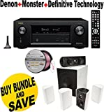 Denon AVRX2200W 7.2 Channel Full 4K Ultra HD A/V Receiver with Bluetooth and Wi-Fi + Definitive Technology - Definitive Technology ProCinema 600 5.1 Speaker System (Set of Six, White) + Monster - Platinum XP Clear Jacket MKIII 50' Compact Speaker Cable -