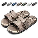 Nazhi Yang Slides Sandals for Men Soft Comfort Non Slip Adjustment Flat Sandals,2018 New(Men-10 US(D) M /44,GOld02)