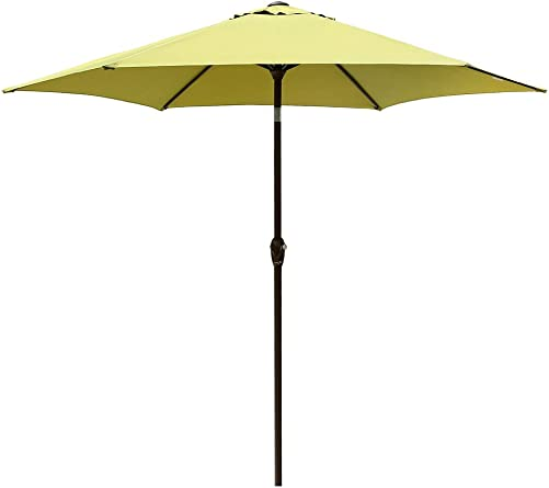 Le Papillon 9 ft Outdoor Patio Umbrella Aluminum Table Market Umbrella 6 Ribs Crank Lift Push Button Tilt