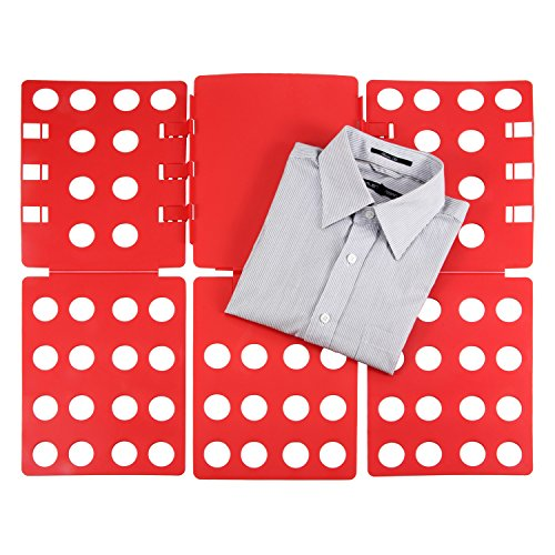 Ollieroo Plastic T Shirt Folder Clothes Fold Board Thickness Adjustable Laundry Folding Board, Red Flip Fold Clothes