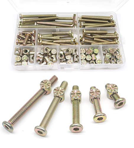 binifiMux Crib Hardware Screws, 50 Set(100Pcs) M6 Furniture Barrel Nut Bolt Assortment Kit, Hex Socket M6 x 20mm/ 30mm/ 40mm/ 50mm/ 60mm Crib Bolt Barrel Nut