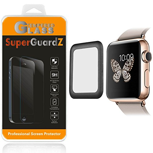 [2-PACK] For Apple Watch Series 2 42 mm - SuperGuardZ 3D Curved FULL COVER Tempered Glass Screen Protector [Black], Full Screen Coverage, Edge-To-Edge Protect [Lifetime Replacement]