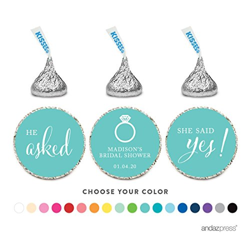 Andaz Press Personalized Chocolate Drop Labels Stickers, Wedding He Asked She Said Yes!, 216-Pack, For Custom Hershey's Kisses Party Favors Decor]()