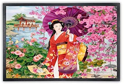 for Outdoor Indoor Office 19.6×31.4 Inches Floor Mat Non-Slip Home Decoration with Rubber Backing Carpet Entrance Door Rug Japanese Cherry Blossoms Geisha Girl Printing
