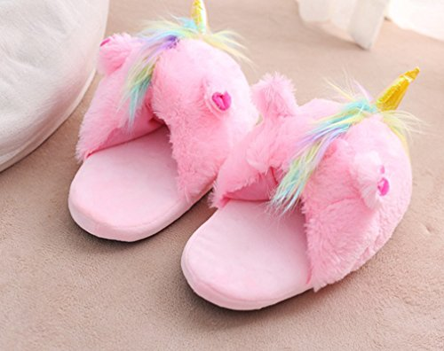 Spiritup Adult Feathers Shoes Peluche Pantofole Mocassini Casa Unicorno Rosa Mocassini