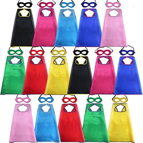 D.Q.Z Super Hero Capes and Masks for Kids Bulk Superhero Dress Up Party-16 Pack]()