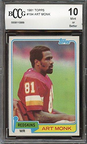 1981 topps #194 ART MONK washington redskins rookie card BGS BCCG 10 Graded Card Art Monk Washington Redskins