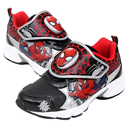 Joah Store Spider-Man Light Up Shoes for Boys Black Red Silver Anti-Skid Sneakers (Toddler/Little Kid) (8 M US Toddler, Spider-Man-C) -