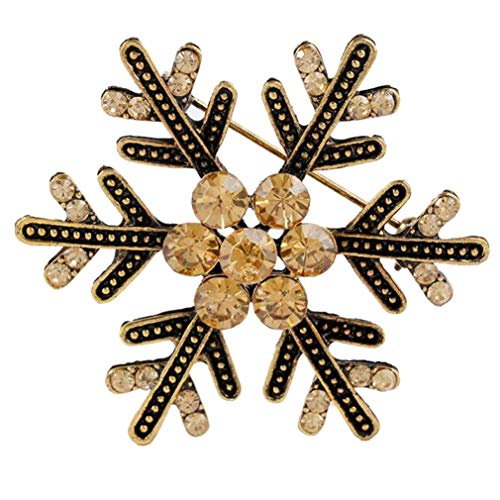 (Women's Austrian Crystal Winter Art Deco Snowflake Flower Antique Gold Brooch Pin Christmas Best Gift)