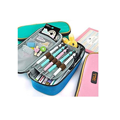 LORJE Big Capacity Multifunction Canvas Pencil Case Bag Stor
