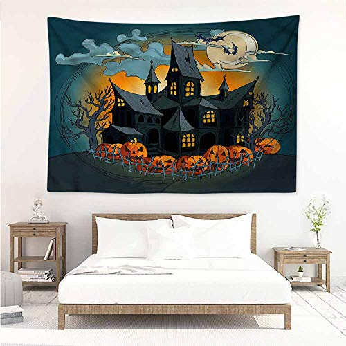 Sunnyhome Tapestry for Living Room,Halloween Medieval Haunted Castle,Stylish Minimalist Fresh -