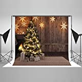 Kate 7×5ft Christmas Backdrop Wooden with Lights Stars Xmas Photography Background Cotton Seamless Photo Studio Booth for Happy New Year Photography