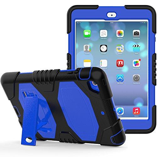 iPad Mini Case,iPad Mini 2 Case,iPad Mini 3 Case, Angelan Heavy Duty Rugged Armor Three Layer Silicone+Hard PC Bumper Full-body Protective Case Cover For iPad Mini 1/2/3,Blue