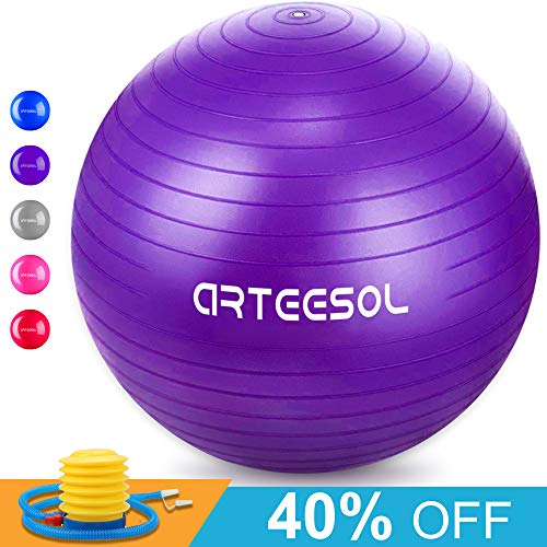 Arteesol Exercise Yoga Ball, Extra Thick Stability Ball Chair(45CM-77CM / 5 Colours), Professional Grade Anti Burst & Slip Resistant Balance, Fitness&Physical Therapy, Birthing Ball with Air ()