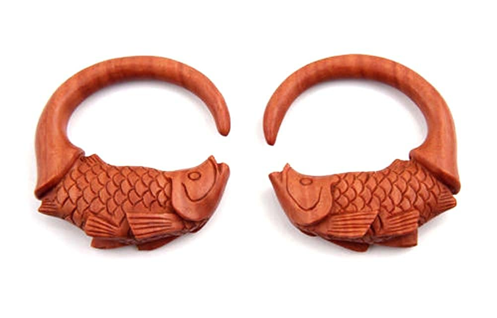 JewelryVolt Pair Handmade Spiral Koi Fish Carved Organic Sawo Wood Ear Hook Plugs Taper Pincher Gauges Hanging Earplug