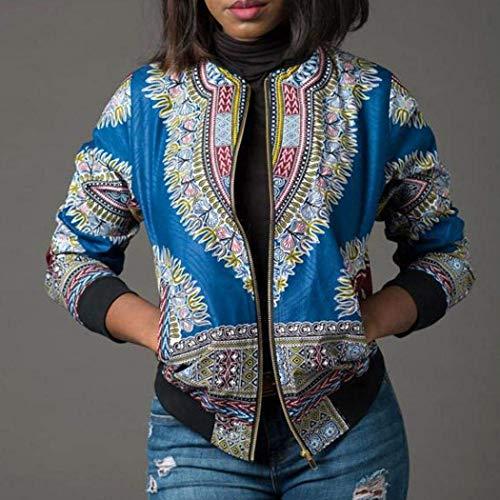 Giubbino Fashion Donna Stile Blau Casual Stlie Etnico Vintage Primaverile Cappotto Autunno Giacche Con Cerniera Grazioso Lunghe Relaxed Corto Maniche Jacket wXxBvnq