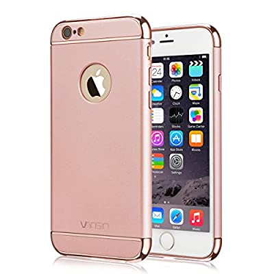 iPhone 6S Case, Vansin 3 In 1 Ultra Thin and Slim Hard Case Coated Non Slip Matte Surface with Electroplate Frame for Apple iPhone 6 (4.7'')(2014) and iPhone 6S (4.7'')(2015) -- Rose Gold
