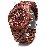 watch luminous dial - Bewell W109D Mens Wooden Watch Sub-Dial Stopwatch Date Quartz Luminous Hands (Red Sandalwood)
