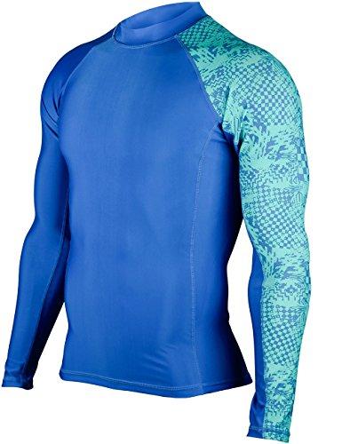 HUGE SPORTS Men's Splice UV Sun Protection UPF 50+ Crew Neck Skins Rash Guard Long Sleeves