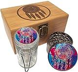 Swagstr Combo Stash Box with 2.5' Titanium Grinder and matching Black UV Glass Jar - w/ Gift Box