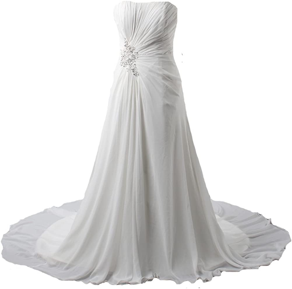 Kivary Women S White Chiffon A Line Beach Informal Bridal Wedding Dresses At Amazon Women S Clothing Store