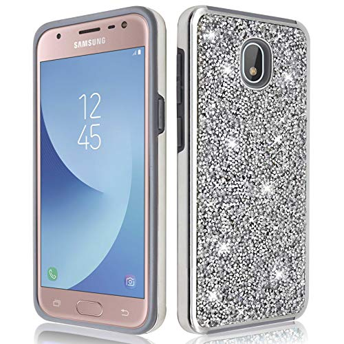 Samsung Galaxy J7 2018/ J7 Refine/ J7 V 2nd Gen/ J7 Star/ J7 Aero Glitter Bling Diamond Rubber Case Hard Silicone Shockproof Heavy Duty Protective for Girls Women (Silver)