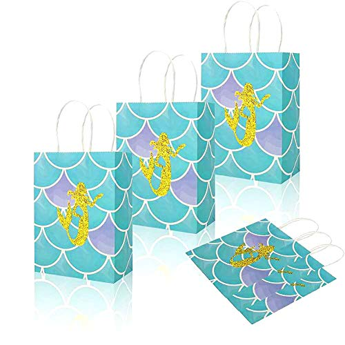 Mermaid Gift Treat Bags |Large Size - Golden Glitter Design | Magical Mermaid Party Supplies - Baby Shower or Birthday Party Favors Decorations Handbag | Set of (Purse Cookie Favor)