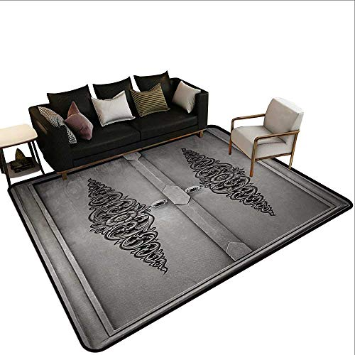 (Contemporary Indoor Area Rugs Antique,Antique Door with Vertical Ornamental Floral Pattern Travel Treasure Monochromic,Grey Black,for Living Room Bedrooms Kids Nursery Home Decor 2'x 4')