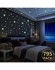 Yosemy Étoiles Autocollants Lumineux, Lumineuses Stickers Étoiles en 6 Tailles Stickers muraux Décor de Plafond Fluorescent pour Chambres d'enfants Chambres de Bébés ou des Fêtes