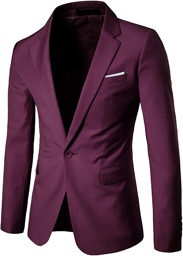 MISSMAOM Slim Fit Casual One Button Elegante Vestito di Affari Cappotto Giacca Blazers Uomo