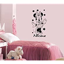 Name Wall Decal Minnie Mouse Disney Vinyl Decals Sticker Custom Decals Personalized Baby Girl Name Decor Bedroom Nursery Baby Room Decor ZX58