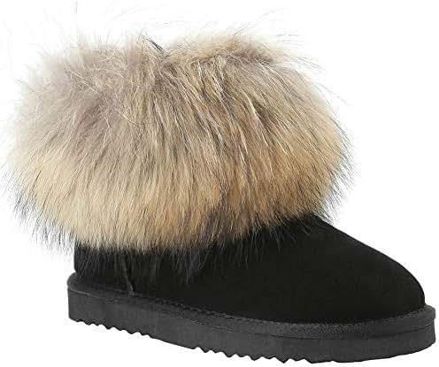 Veilante-Winter-Ladies-Waterproof Natural Racoon Fur Outside Antiskid EVA Sole Winter Snow Boots Shoes