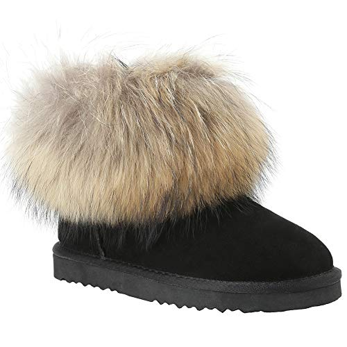 tant Snow Boots-Mini Ladies Classic Totes Ankle Length Cute Calf Leather and Natural Racoon Fur Topped Mini Outside Black Winter Shoes for Women Black US 5 ()
