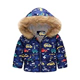 1-6Years Baby Down Coats Clearance - Iuhan Toddler Baby Girl Boy Cartoon Car Print Winter Warm Jacket Hooded Windproof Coat Outwear