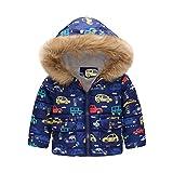 Jchen(TM) Infant Kids Little Girls Boys Cartoon Car Rainbow Winter Warm Jacket Hooded Windproof Outerwear Coat for 1-6 Y (Age: 18-24 Months, Blue)