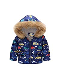 ASTV Toddler Baby Girl Boy Outerwear Print Winter Warm Jacket Hooded Windproof Coat