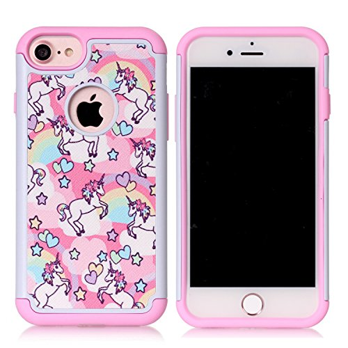 Iphone 7 Case,Iphone 7 Cover - Rainbow Unicorn Patchwork Pattern Shock-Absorption Hard PC and Inner Silicone Hybrid Dual Layer Armor Defender Protective Case Cover for Apple iphone 7