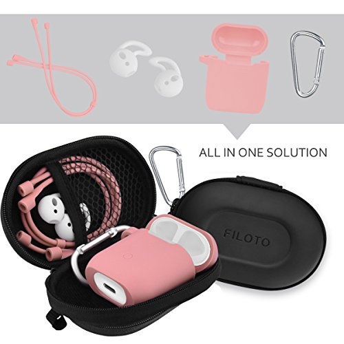 Airpods Accessories Set, Filoto Airpods Silicone Case Cover with Keychain/Strap/Earhooks/Waterproof Accessories Storage Travel Box for Apple Airpod (Pink) by Filoto (Image #6)