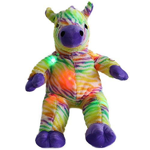 Wewill Rainbow Zebra Creative LED Stuffed Animals Colorful Lifelike Plush Toy Birthday Christmas Gift for Kids, -