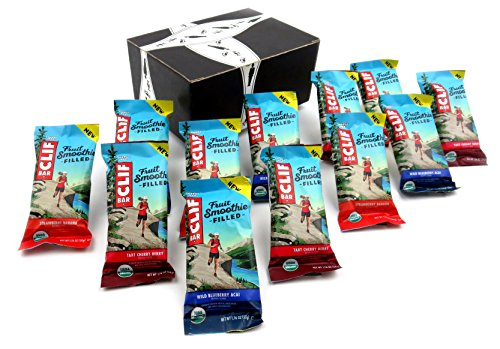 Fruit Energy Bars Box - CLIF Fruit Smoothie Filled Energy Bars 3-Flavor Variety: Four 1.76 oz Bars Each in a BlackTie Box (12 Items Total)